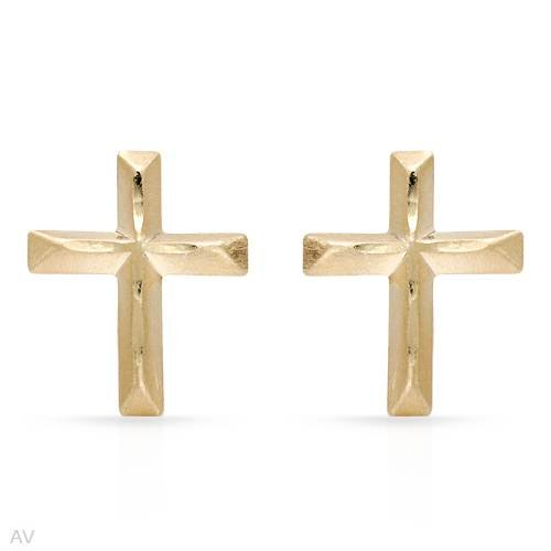 Cross Earrings Beautifully Designed in Yellow Gold Length 9mm