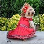Red Tartan Plaid Holiday Dog Dress and Leash (Small)