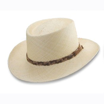 Gambler panama hat with leather