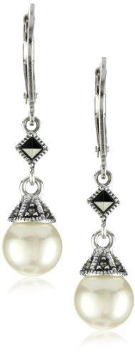 Judith Jack Sterling Silver Marcasite and Simulated Pearl Drop Earrings