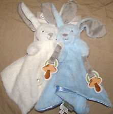 Blankets and Beyond 2 Pack Long Earred Bunnies Security Blankets - 1