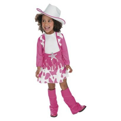 Pink Cowgirl/Cowboy Western Halloween Costume Size 2T/3T Toddler Girls: Dress, Hat, Belt, Boot Covers front-1032612