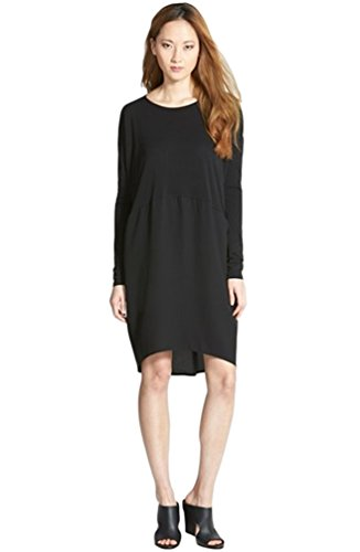 Eileen Fisher Asymmetric Ballet Neck Silk Dress in Black Size Small