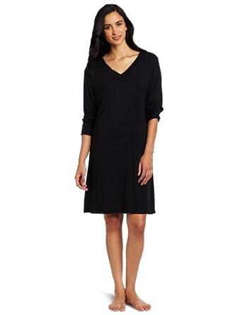 Casual Moments Women's V-Neck Sleepshirt, Black, Small