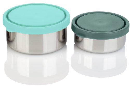 Mira Set Of 2 Stainless Steel Snack, Lunch Boxes/Storage Containers, 1 Medium, 1 Small, Multi Color back-1009032