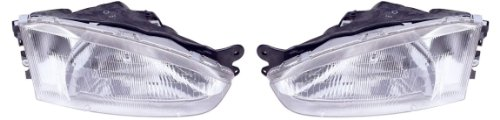 1997-2002 Mitsubishi Mirage Coupe 2 door Headlights Headlamps Head Lights Lamps Pair Set: Left Driver AND Right Passenger Side (1997 97 1998 98 1999 99 2000 00 2001 01 2002 02)