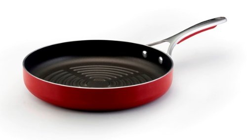 Kitchenaid Gourmet Aluminum Nonstick 11-Inch Deep Round Grill Pan, Red