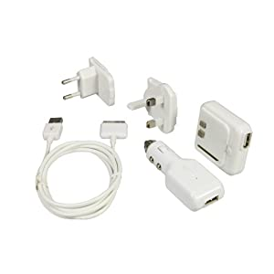 Logic3 3 in 1 Power Kit - Cargador con salida USB para iPod y iPhone (adaptador para coche con salida USB, cable de iPod)