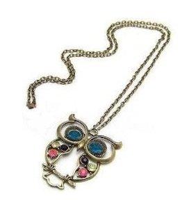 Lange Retro Vintage Halskette Kette mit süßem Eulen-Anhänger mit blauen Augen