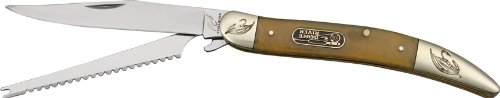 Frost Ocoee Fish Knife Folding Knife,Long Clip And Fish Scaler Blade, Ox Horn Handle Oc-562Oxh
