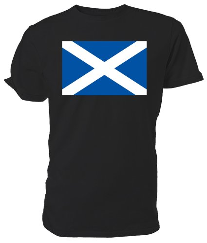 Scottish Flag T shirt, Black, size Medium