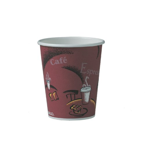Solo 370Si-0041 10 Oz. Bistro Paper Hot Cup No-Handle Singlepoly(1000-Pack)