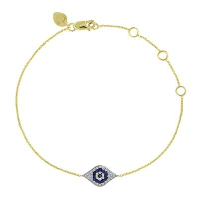 Meira T 14K Yellow Gold Blue Sapphire & Diamond Evil Eye Bracelet