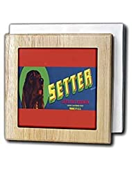 BLN Vintage Label and Advertising Art - Setter Brand Exeter Fruit wit Irish Setter Colorful Crate Label - Tile Napkin Holders - 6 inch tile... by 3dRose