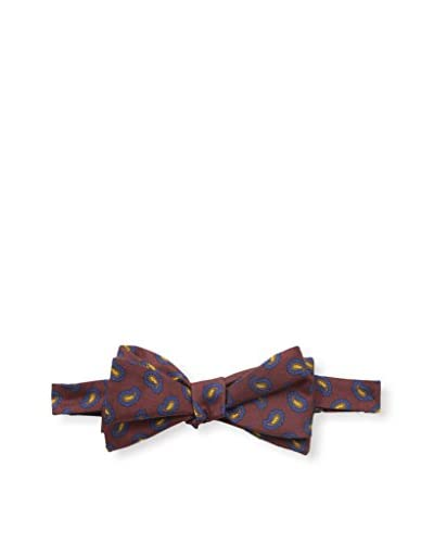 J.McLaughlin Men's Paisley Silk Twill Bow Tie, Burgundy/Blue