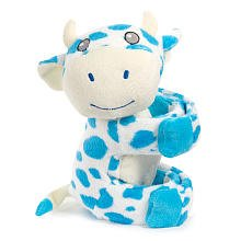 Hugwallas Plush Snap Animal - Blue and White Cow - 1