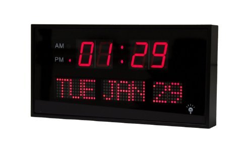 Metro Fulfillment House Large Digital Red Led Calendar Clock 11 X 3/4 Day And Date - Use On Table, Desk, Shelf Or Wall Mount