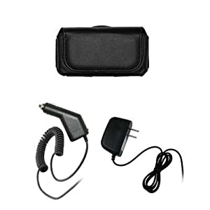 Nokia XpressMusic 5330 Executive Black Horizontal Leather Side Case Pouch with Belt Clip and Belt Loops + Rapid Car Charger + Travel Home Wall Charger for Nokia XpressMusic 5330