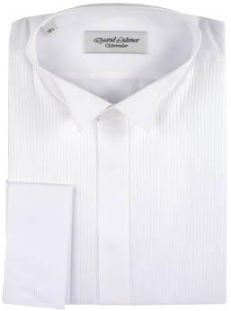 David Latimer 20 Shirt Dress Wing Collar White Full Pleat C36-2130