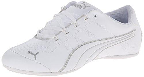 PUMA Women's Soleil V2 Comfort Fun Classic Sneaker, White/Puma Silver, 9 B US
