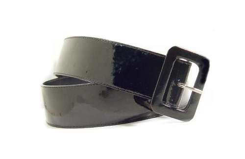 2 Inch Wide Patent Leather Cinch Belt for Women in Black