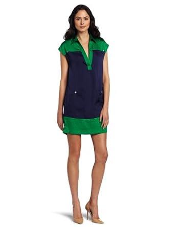 AK Anne Klein Women's Petite Colorblock Wedge Dress, Kelly Green/Ink