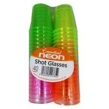 NEW 40 COLOURFUL NEON DISPOSABLE PLASTIC SHOT CUPS GLASSES PARTY GREEN PINK ETC