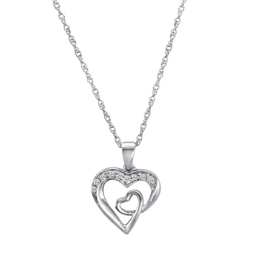 Sterling Silver Diamond Heart Pendant Necklace (0.09 cttw), 21.3