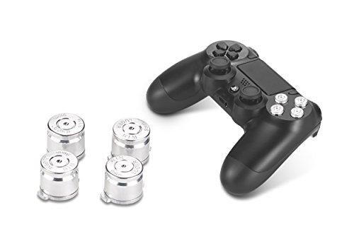 Supremery Playstation 4 pulsanti DualShock 4 alluminio KeyCaps ricambio Accessori per PS4 (Silver Bullet)