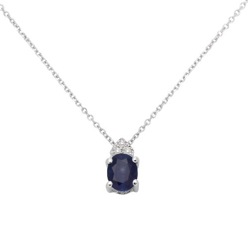 Sapphire Necklace, 9ct White Gold, Diamond and Sapphire Pendant, by Miore, MP9062N 42 cm