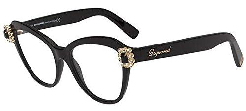 Dsquared2 - DQ 5212, Cat eye, iniettato, donna, SHINY BLACK(001), 53/18/140