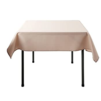 E-TEX 70x70-Inch Polyester Square Tablecloth Beige