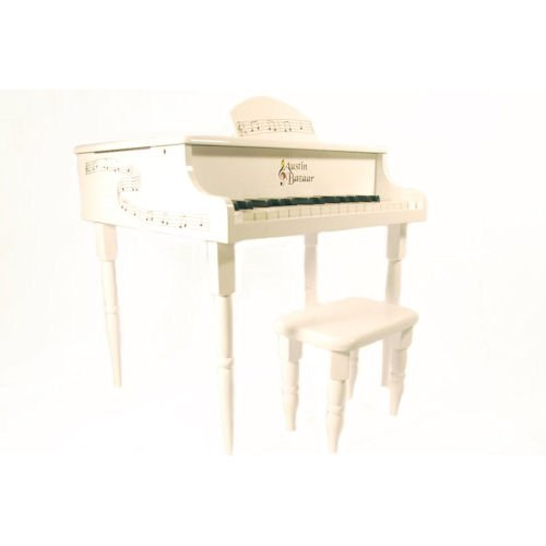 Barcelona Kids 30 Keys Baby Grand Piano with Matching Bench - White