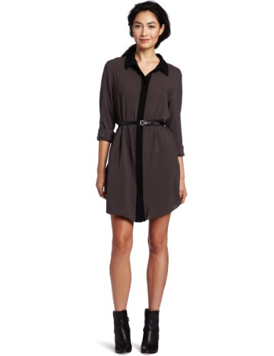 BCBGeneration Women's Back Pleat Shirt Dress, Licorice, XX-Small