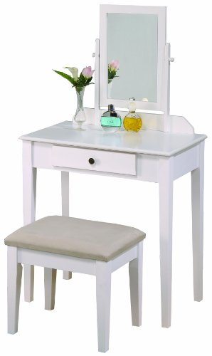Cheap Crown Mark Iris Vanity Table/Stool, White Finish with Beige Seat