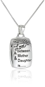 "Sterling Silver ""Mother and Daughter"" Reversible Pendant Necklace, 18"""