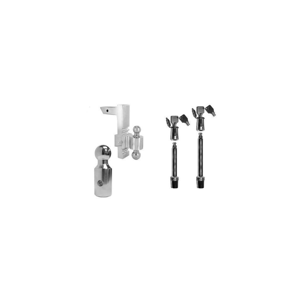 Aluminum 10 Drop Adjustable Hitch Ball Mount 1 7/8, 2 & 2 5/16 Balls & Lock Set