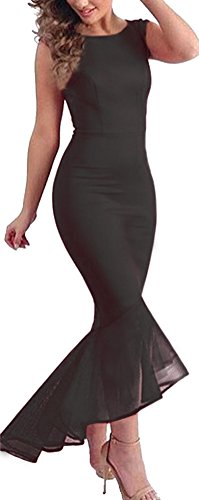 Roswear Women's Tulle Fishtail Round Neck Sleevless Mermaid Party Dress Club Wear Black Large