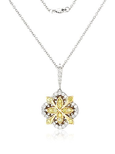 Bouquet 1/2 Carat TW Fancy Intense Yellow/White Diamond 18K Gold Pendant Necklace