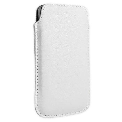 Weiß Echtleder Genuine Handytasche Smartphone für Samsung Galaxy Ace 2