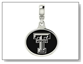 Texas Tech Red Raiders Black Enamel Collegiate Drop Charm Fits Most Pandora Style Bracelets Including Pandora Chamilia Zable Troll and More. High Quality Bead in Stock for Immediate Shipping. Officially Licensed