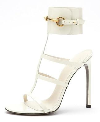 Gucci Ursula Mystic White Patent Leather Ankle Strap Sandals (37.5 EU Women's)