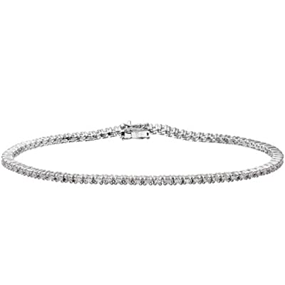 Ariel 18ct White Gold Tennis Bracelet, I/SI Certified Diamonds, Round Brilliant