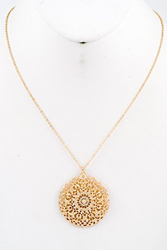 Glitz Finery Filigree Round Pendant With Beads Crystal Necklace (Gold/Clear)