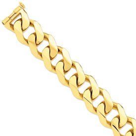14k 27.5mm Polished Heavy Curb Link Bracelet - 9 Inch - Lobster Claw - JewelryWeb