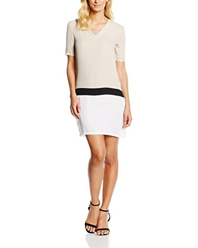 William de Faye Vestido Seda Beige / Blanco L