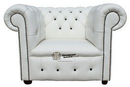 Chesterfield Low Back Club ArmChair White Leather With Black Buttons