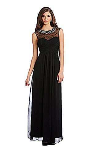 JS Collection Dress, Womens Beaded Illusion Neckline Chiffon Gown (Black) - Size 8