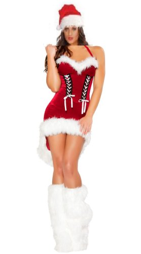 Sexy Miss Santa Womens Fancy dress outfit Mrs Xmas Costume with leg covers