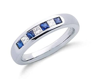 J R Jewellery 409754 9ct White Gold Princess Cut Real Sapphire & Diamond Eternity Ring 0.55CTW